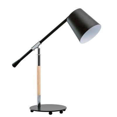 Настольная лампа Mw light 680030101 АкцентСовременные<br>Описание модели 680030101: Стильный светильник из коллекции «Акцент» подчеркнет хороший вкус своего обладателя. Он выполнен в двух цветовых вариациях: матовый чёрный и глянцевый белый. Каждый из них – эталон классической простоты и элегантности. Металлическое основание соединено с плафоном при помощи оригинальной ножки, выполненной из металла и натурального дерева гевеи. Настольная лампа «Акцент» – идеальный вариант для любителей функциональности и сдержанной красоты.<br><br>S освещ. до, м2: 2<br>Тип лампы: накаливания / энергосбережения / LED-светодиодная<br>Тип цоколя: E14<br>Количество ламп: 1<br>Ширина, мм: 590<br>MAX мощность ламп, Вт: 40<br>Диаметр, мм мм: 190<br>Длина, мм: 600<br>Высота, мм: 600<br>Цвет арматуры: серебристый