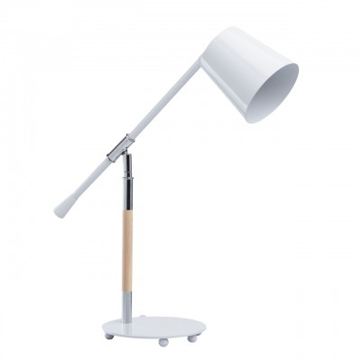 Настольная лампа Mw light 680030201 АкцентХай тек<br>Описание модели 680030201: Стильный светильник из коллекции «Акцент» подчеркнет хороший вкус своего обладателя. Он выполнен в двух цветовых вариациях: матовый чёрный и глянцевый белый. Каждый из них – эталон классической простоты и элегантности. Металлическое основание соединено с плафоном при помощи оригинальной ножки, выполненной из металла и натурального дерева гевеи. Настольная лампа «Акцент» – идеальный вариант для любителей функциональности и сдержанной красоты.<br><br>S освещ. до, м2: 2<br>Тип лампы: накаливания / энергосбережения / LED-светодиодная<br>Тип цоколя: E14<br>Количество ламп: 1<br>Ширина, мм: 190<br>MAX мощность ламп, Вт: 40<br>Диаметр, мм мм: 190<br>Длина, мм: 600<br>Высота, мм: 620<br>Цвет арматуры: серебристый