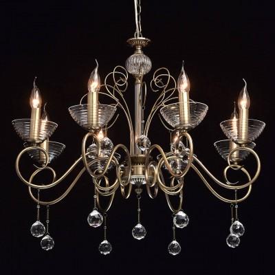 Mw light 683010508 СветильникПодвесные<br><br><br>Установка на натяжной потолок: Да<br>S освещ. до, м2: 16<br>Тип лампы: Накаливания / энергосбережения / светодиодная<br>Тип цоколя: E14<br>Количество ламп: 8<br>Диаметр, мм мм: 760<br>Высота, мм: 770 - 1000<br>MAX мощность ламп, Вт: 40