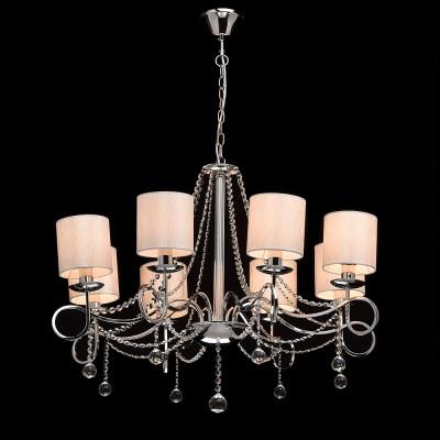 Mw light 684010208 СветильникПодвесные<br><br><br>Установка на натяжной потолок: Да<br>S освещ. до, м2: 16<br>Тип лампы: Накаливания / энергосбережения / светодиодная<br>Тип цоколя: E14<br>Количество ламп: 8<br>MAX мощность ламп, Вт: 40<br>Диаметр, мм мм: 800<br>Высота, мм: 750 - 1000<br>Цвет арматуры: серебристый