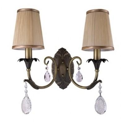 Lightstar CAPPA 691621 Светильник настенный браКлассические<br><br><br>Тип лампы: Накаливания / энергосбережения / светодиодная<br>Тип цоколя: E14<br>Количество ламп: 2<br>Ширина, мм: 430<br>MAX мощность ламп, Вт: 40<br>Высота, мм: 420<br>Цвет арматуры: бронзовый