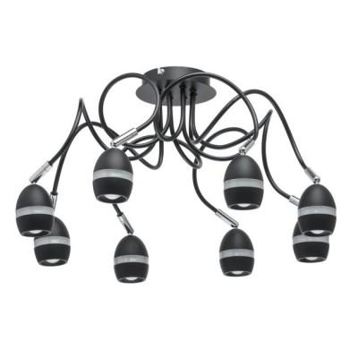 Светильник De markt 704016208люстры хай тек потолочные<br>Стильный минималистичный светильник идеально подойдет для подсветки современного интерьера. Металлическое основание матового черного оттенка дополнено миниатюрными плафонами того же цвета. Их оригинальная форма подчеркнута декоративной акриловой вставкой. Помимо этого, плафоны оснащены спот-системой, а значит, можно менять направление светового потока, подстраивая его под свои нужды.<br><br>S освещ. до, м2: 12<br>Тип лампы: LED<br>Тип цоколя: LED<br>Цвет арматуры: черный<br>Количество ламп: 64<br>Диаметр, мм мм: 615<br>Высота, мм: 260<br>Поверхность арматуры: матовая<br>Оттенок (цвет): черный<br>MAX мощность ламп, Вт: 0.5
