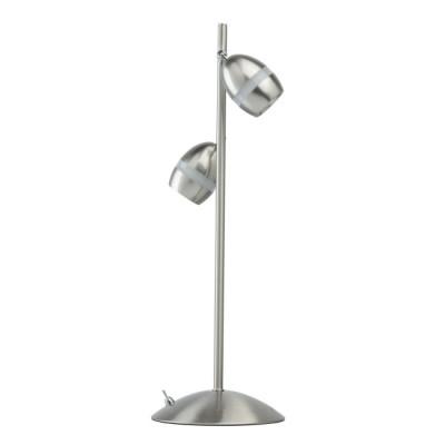 Светильник De Markt 704030202 Этингернастольные лампы хай тек<br>Богатый функционал, стильный минималистичный дизайн – главные достоинства этого светильника. Основание из металла выполнено в цвете сатинового никеля и подчеркнуто миниатюрными плафонами оригинальной формы того же оттенка. Они также дополнены декоративными акриловыми вставками, придающими композиции завершенность. Кроме того, плафоны оснащен спот-системой, что очень удобно: можно менять направление светового потока, подстраивая его под себя.