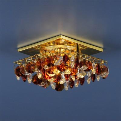 Светильник Электростандарт Asfour 7081 GD-T-WH золото/янтарь/прозрачныйхрустальные встраиваемые светильники<br>
