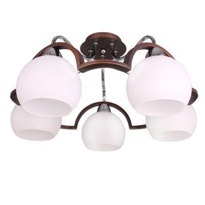 Светильник Colosseo 70858/5C optimaПотолочные<br><br><br>S освещ. до, м2: 15<br>Тип товара: Светильник<br>Скидка, %: 10<br>Тип цоколя: E27<br>Количество ламп: 5<br>Ширина, мм: 550<br>MAX мощность ламп, Вт: 60<br>Длина, мм: 550<br>Высота, мм: 290<br>Цвет арматуры: венге