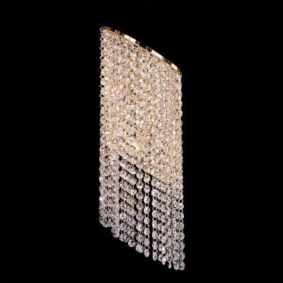 Lightstar NUVOLA 709622 Светильник настенный браХрустальные<br><br><br>Тип лампы: Накаливания / энергосбережения / светодиодная<br>Тип цоколя: E14<br>Количество ламп: 2<br>Ширина, мм: 190<br>MAX мощность ламп, Вт: 40<br>Длина, мм: 140<br>Высота, мм: 550<br>Цвет арматуры: Золотой