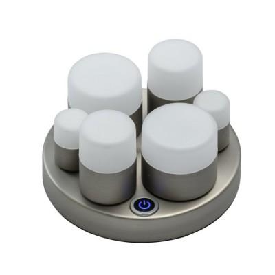 Светильник De Markt 710030406Настольные лампы хай тек<br>Современный светильник отлично дополнит обстановку, выполненную в стиле хай-тек, техно, минимализм. Матовое металлическое основание цвета никеля подчеркнуто плотно прилегающими плафонами. Источники света в них декорированы матовым акрилом, что позволяет получить несколько рассеянный и более мягкий свет. Оригинальную композицию оценят смелые новаторы и любители нестандартного дизайна.<br><br>S освещ. до, м2: 4.5<br>Тип лампы: LED<br>Тип цоколя: LED<br>Цвет арматуры: серебристый<br>Количество ламп: 12<br>Диаметр, мм мм: 160<br>Высота полная, мм: 105<br>Поверхность арматуры: матовая<br>Оттенок (цвет): серебристый<br>MAX мощность ламп, Вт: 1 Вт