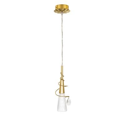 Люстра Lightstar 711011 AEREOОдиночные<br><br><br>Тип лампы: галогенная/LED<br>Тип цоколя: G9<br>Количество ламп: 1<br>Диаметр, мм мм: 65<br>Высота, мм: 350 - 800<br>Цвет арматуры: золотой