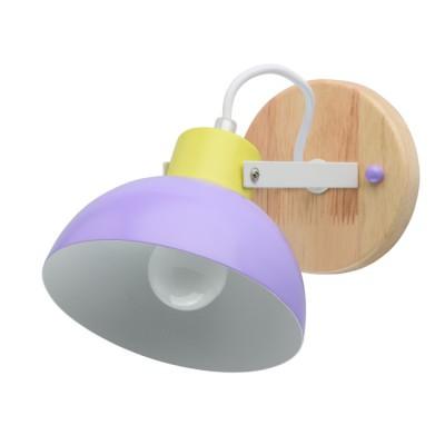 Светильник Mw light 711020501металлические бра<br>Основание светильника выполнено из металла и окрашено в белый цвет. Держатель плафона окрашен в салатовый цвет, плафон окрашен в фиолетовый цвет. Светильник декорирован элементом из натурального дерева гевея. Плафон крепится на подвижном соединении, поворачивается в двух плоскостях.<br><br>S освещ. до, м2: 3<br>Тип лампы: накаливания / энергосбережения /светодиодная<br>Тип цоколя: Е27<br>Цвет арматуры: дерево<br>Количество ламп: 1<br>Ширина, мм: 150<br>Длина, мм: 250<br>Высота, мм: 180<br>Поверхность арматуры: глянцевая<br>Оттенок (цвет): коричневый<br>MAX мощность ламп, Вт: 8 Вт