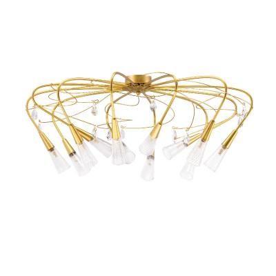 Люстра Lightstar 711121 AEREOПотолочные<br><br><br>Тип лампы: галогенная/LED<br>Тип цоколя: G9<br>Количество ламп: 12<br>Диаметр, мм мм: 1050<br>Высота, мм: 450<br>Цвет арматуры: золотой