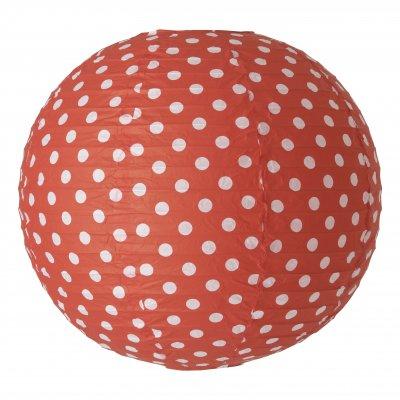 Абажур красный в горошек Brilliant 71199A81 OsakaАбажуры<br><br><br>Тип лампы: накал-я - энергосбер-я<br>Тип цоколя: E27<br>Количество ламп: 0<br>MAX мощность ламп, Вт: 60<br>Диаметр, мм мм: 300