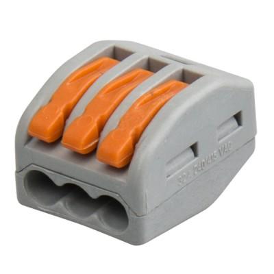 Клемма Wago КПМ Navigator 71 290 NTC-R-3Клеммы WAGO<br>Клеммы с рычагом монтажные (КРМ) Navigator серии NTC предназначены для многоразового соединения медных одножильных проводников сечением 0.08–2.5 мм2 или многожильных проводников 0.08–4.0 мм2 с наконечниками-гильзами втулочными Navigator серии NET в электрических цепях переменного тока с частотой 50/60 Гц напряжением до 400 В, максимальный ток 32 А. Клеммы удобны в использовании, обеспечивают надежное подключение проводников.<br>