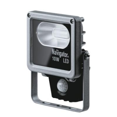Светильник Navigator 71 320 NFL-M-10-4K-SNR-LEDCветодиодные<br>Светодиодный прожектор NFL-M-SNR оснащен инфракрасным датчиком движения. Он обладает степенью защиты от пыли и влаги IP65, подходит как для внутреннего, так и для наружного использования. Дает мощный направленный свет, угол светового потока 70°. Обладает высокой эффективностью, порядка 70 лм/Вт. При этом коэффициент цветопередачи светильника обеспечивается на уровне Ragt;75. Диапазон рабочих температур окружающей среды от -30 до +40. Отсутствует мерцание и пульсация светового потока.<br> Датчик движения оснащен тремя регуляторами для настройки параметров работы: дальность срабатывания – до 12 метров; время срабатывания – от 10 секунд до 10 мин; порог внешней освещенности, при котором происходит срабатывание датчика – от 3 до 1000 люкс.<br>Срок службы 30 000 часов.<br><br>Цветовая t, К: 4000<br>Тип лампы: LED<br>Тип цоколя: LED<br>Ширина, мм: 120<br>MAX мощность ламп, Вт: 10<br>Длина, мм: 47<br>Высота, мм: 216