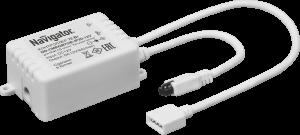 Контроллер Navigator 71 364 ND-CMRGB72IR-IP20-12V бегущая волнаКонтроллеры<br>Для управления многоцветной (RGB бегущая волна) светодиодной лентой <br>применяется  специальный RGB контроллер Navigator ND-CMRGB72IR-IP20-12V <br>постоянного  напряжения 12 В. С помощью данного контроллера возможно <br>регулировать яркость  светодиодной ленты, изменять цвет свечения и <br>скорость смены цветов и задавать  определенные световые сцены. RGB <br>контроллер Navigator ND-CMRGB72IR-IP20-12V  запрограммирован на 16 <br>статических и 19 динамических световых сцен. Контроллер  подключается к <br>стандартному блоку питания светодиодных лент Navigator.<br><br>MAX мощность ламп, Вт: 72