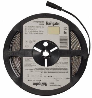 СД Лента Navigator 71 411 NLS-3528WW120-9.6-IP65-12V R5Лента 3528<br>Navigator NLS-3528 — светодиодная лента, сконструированная на базе высокоэффективных планарных светодиодов Epistar в корпусе 3528. Лента выпускается на гибкой печатной плате белого цвета шириной 8 мм и поставляется в роллах по 5 м. Каждый ролл с лентой NLS-3528- 4.8 укомплектован проводом с разъемомом «джек». Эффективность светодиодной ленты белого света серии NLS-3528 составляет более 60 лм/ Вт.  Ассортимент светодиодных лент Navigator NLS-3528 представлен мощностями 4.8 и 9.6 Вт на 1 метр. СД лента NLS-3528 представлена в холодном белом 4000К, теплом белом 2700К, зеленом, синем, красном и желтом цветах. Лента в белом цвете представлена с классами защиты от пыли и влаги IP20 и IP65. Цветная лента представлена в классе IP65. Срок службы светодиодной ленты NLS-3528 составляет 50 000 часов. Напряжение питания 12 В DC.<br><br>Цветовая t, К: WW - теплый белый 2700-3000 К<br>Тип лампы: LED - светодиодная<br>Количество ламп: 120LED шт/м<br>MAX мощность ламп, Вт: 9,6