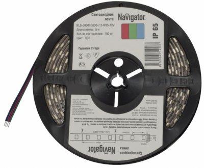 СД Лента Navigator 71 429 NLS-5050RGB60-14.4-IP65-12V R5Лента RGB<br>Navigator NLS-RGB многоцветна светодиодна лента, сконструированна на базе высокоффективных планарных светодиодов Epistar в корпусе 5050. Лента выпускаетс на гибкой печатной плате белого цвета шириной 10 мм и поставлетс в роллах по 5 м. Ассортимент светодиодных лент Navigator NLS-RGB представлен мощностми 7.2 и 14.4 Вт на 1 метр. Дл получени статических и динамических сцен при применении СД лент NLS-RGB необходимо использовать RGB контроллеры Navigator. С помощь данных контроллеров возможно получить до 16 различных цветов в статическом режиме и до 14 динамических сцен.  Вс СД Лента NLS-RGB представлена с классом защиты от пыли и влаги IP65. Срок службы светодиодной ленты NLS-RGB составлет 50 000 часов. Напржение питани 12 В DC.<br><br>Цветова t, К: RGB - многоцветный<br>Тип лампы: LED - светодиодна<br>Количество ламп: 60LED шт/м<br>MAX мощность ламп, Вт: 14,4