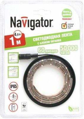 СД Лента Navigator 71 430 NLSD-3528WW60-4.8-IP20-12V-1м-BPЛента 3528<br>Navigator NLSD – готовое решение в виде комплекта светодиодной ленты и драйвера с выключателем. Комплекты упакованы в яркий информативный блистер, позволяющий выгодно разместить продукт на полках в розничных точках продаж. Комплекты поставляются с лентой в отрезках 1 или 2,5 м, температурой излучаемого света 2700 К и степенью защиты от влаги и пыли IP20 или IP65.<br><br>Цветовая t, К: WW - теплый белый 2700-3000 К<br>Тип лампы: LED - светодиодная<br>Количество ламп: 60LED шт/м<br>MAX мощность ламп, Вт: 4,8<br>Длина, мм: 1000