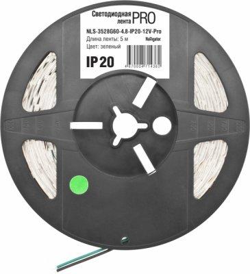 СД Лента Navigator 71 435 NLS-3528B60-4.8-IP20-12V-Pro R5Лента 3528<br>Светодиодная лента (NLS-PRO) — универсальный источник света, позволяющий создавать профессиональные световые решения при интерьерном и наружном применении.  Лента легко крепится к различным поверхностям, а благодаря гибкости и отсутствию нагрева во время работы ей можно декорировать разнообразные конструкции и предметы, при этом светодиодную ленту можно резать на участки необходимой длины.<br><br>Тип лампы: LED - светодиодная<br>Количество ламп: 60LED шт/м<br>MAX мощность ламп, Вт: 4,8