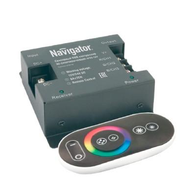 Контроллер Navigator 71 493 ND-CRGB360SENSOR-IP20-12VКонтроллеры<br><br><br>Тип товара: Контроллер<br>Ширина, мм: 80<br>MAX мощность ламп, Вт: 360<br>Длина, мм: 85<br>Высота, мм: 35
