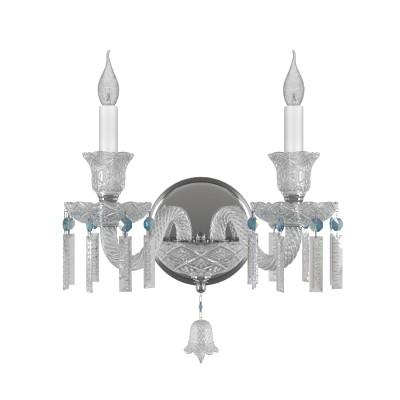 Бра Lightstar 716624 CAMPANAХрустальные<br><br><br>Тип лампы: Накаливания / энергосбережения / светодиодная<br>Тип цоколя: E14<br>Количество ламп: 2<br>Ширина, мм: 420<br>MAX мощность ламп, Вт: 40<br>Расстояние от стены, мм: 300<br>Высота, мм: 385<br>Цвет арматуры: серебристый