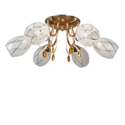 Люстра Colosseo 71906/6CПотолочные<br>Благородное сочетание «золотого», «янтарного» и белого оттенков цвета придают потолочной люстре Colosseo 71906/6C роскошный и богатый вид, который всегда будет привлекать к себе восхищенные взгляды. Шесть плафонов, направленные в разные стороны, создают равномерно яркое освещение всего пространства комнаты площадью до 24 кв.м., поэтому лучше всего светильник будет смотреться в зале, гостиной или холле. Рекомендуем Вам в основной цветовой гамме интерьера использовать похожие оттенки и два-три контрастных цвета в качестве акцентов для создания гармоничного, стильного и «уютного» образа.<br><br>Установка на натяжной потолок: Ограничено<br>S освещ. до, м2: 24<br>Крепление: Планка<br>Тип лампы: накаливания / энергосбережения / LED-светодиодная<br>Тип цоколя: E14<br>Количество ламп: 6<br>MAX мощность ламп, Вт: 60<br>Диаметр, мм мм: 620<br>Высота, мм: 200<br>Оттенок (цвет): золотой<br>Цвет арматуры: золотой