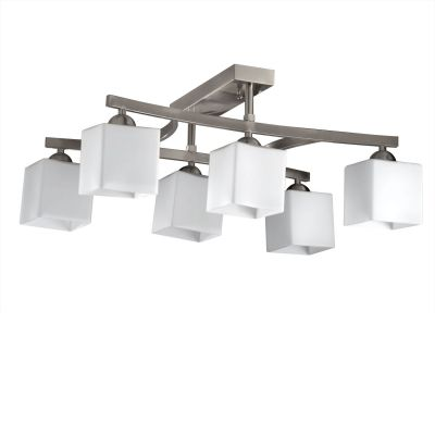 Люстра Colosseo 71908/6CПотолочные<br>Потолочный светильник Colosseo 71908/6C прекрасно впишется в любой современный интерьер и украсит собой комнату площадью до 24 кв.м.! Конструкция люстры выполнена таким образом, что все 6 плафонов расположены по ней на одинаковом друг от друга расстоянии, которое является оптимальным для создания равномерного освещения всего пространства. Превосходное сочетание белого и «металлического» цвета с квадратными «строгими» формами и линиями делает этот светильник одним из ярких представителей стиля «модерн». Плоское крепление и небольшая высота люстры отлично подходят для помещений с невысокими потолками, т.к. зрительно «поднимают» высоту и уравновешивают пространство.<br><br>Установка на натяжной потолок: Да<br>S освещ. до, м2: 24<br>Крепление: Планка<br>Тип товара: люстра<br>Скидка, %: 46<br>Тип лампы: накаливания / энергосбережения / LED-светодиодная<br>Тип цоколя: E14<br>Количество ламп: 6<br>Ширина, мм: 410<br>MAX мощность ламп, Вт: 60<br>Длина, мм: 620<br>Высота, мм: 270<br>Оттенок (цвет): белый<br>Цвет арматуры: серебристый