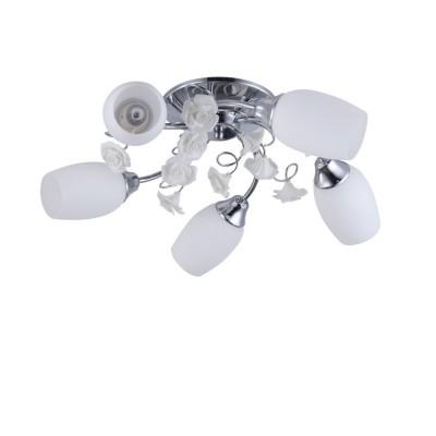 Светильник Colosseo 72163/5C OptimaПотолочные<br><br><br>Установка на натяжной потолок: Ограничено<br>S освещ. до, м2: 15<br>Крепление: Планка<br>Тип лампы: Накаливания / энергосбережения / светодиодная<br>Тип цоколя: E14<br>Количество ламп: 5<br>MAX мощность ламп, Вт: 60<br>Диаметр, мм мм: 580<br>Высота, мм: 180<br>Цвет арматуры: хром серебристый
