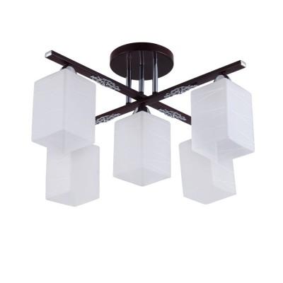 Светильник Colosseo 72167/5C OptimaПотолочные<br><br><br>Тип лампы: Накаливания / энергосбережения / светодиодная<br>Тип цоколя: E27<br>Количество ламп: 5<br>Ширина, мм: 540<br>MAX мощность ламп, Вт: 60<br>Длина, мм: 540<br>Высота, мм: 285<br>Цвет арматуры: венге / хром серебристый