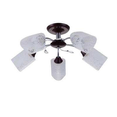 Светильник Colosseo 72170/5C OptimaПотолочные<br><br><br>S освещ. до, м2: 15<br>Тип лампы: Накаливания / энергосбережения / светодиодная<br>Тип цоколя: E27<br>Количество ламп: 5<br>MAX мощность ламп, Вт: 60<br>Диаметр, мм мм: 600<br>Высота, мм: 280<br>Цвет арматуры: венге / хром серебристый