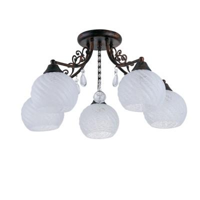 Светильник Colosseo 72174/5C OptimaПотолочные<br><br><br>S освещ. до, м2: 15<br>Крепление: Планка<br>Тип лампы: Накаливания / энергосбережения / светодиодная<br>Тип цоколя: E27<br>Количество ламп: 5<br>MAX мощность ламп, Вт: 60<br>Диаметр, мм мм: 580<br>Высота, мм: 300<br>Цвет арматуры: коричневый