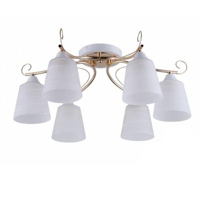COLOSSEO optima 72181/6C белый/золото E27 6*60WПотолочные<br><br><br>S освещ. до, м2: 18<br>Тип лампы: Накаливания / энергосбережения / светодиодная<br>Тип цоколя: E27<br>Количество ламп: 6<br>MAX мощность ламп, Вт: 60<br>Диаметр, мм мм: 600<br>Высота, мм: 255