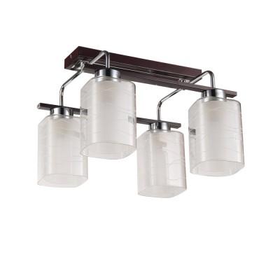 Светильник Colosseo 72183/4C OptimaПотолочные<br><br><br>Установка на натяжной потолок: Да<br>S освещ. до, м2: 12<br>Крепление: Планка<br>Тип лампы: Накаливания / энергосбережения / светодиодная<br>Тип цоколя: E27<br>Количество ламп: 4<br>Ширина, мм: 370<br>MAX мощность ламп, Вт: 60<br>Длина, мм: 390<br>Высота, мм: 290<br>Цвет арматуры: венге / хром серебристый