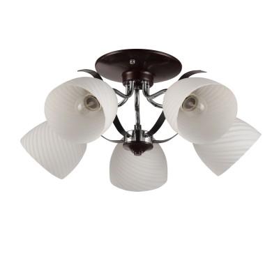 Светильник Colosseo 72188/5C OptimaПотолочные<br><br><br>S освещ. до, м2: 15<br>Крепление: Планка<br>Тип лампы: Накаливания / энергосбережения / светодиодная<br>Тип цоколя: E27<br>Количество ламп: 5<br>MAX мощность ламп, Вт: 60<br>Диаметр, мм мм: 540<br>Высота, мм: 240<br>Цвет арматуры: венге / хром серебристый