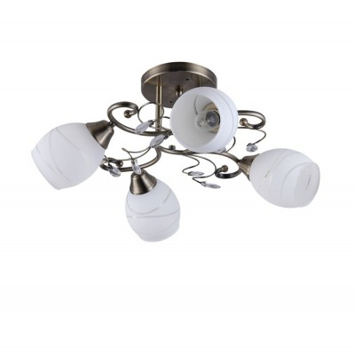 Светильник Colosseo 72191/4C OptimaПотолочные<br><br><br>S освещ. до, м2: 12<br>Крепление: Планка<br>Тип лампы: Накаливания / энергосбережения / светодиодная<br>Тип цоколя: E27<br>Количество ламп: 4<br>MAX мощность ламп, Вт: 60<br>Диаметр, мм мм: 400<br>Высота, мм: 220<br>Цвет арматуры: бронзовый