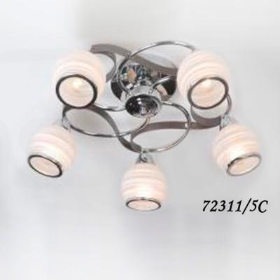 Светильник Colosseo 72311/5C optimaПотолочные<br><br><br>S освещ. до, м2: 15<br>Тип товара: Люстра потолочная<br>Скидка, %: 10<br>Тип цоколя: E14<br>Количество ламп: 5<br>Ширина, мм: 520<br>MAX мощность ламп, Вт: 60<br>Диаметр, мм мм: 520<br>Длина, мм: 520<br>Высота, мм: 210<br>Цвет арматуры: серебристый хром/венге