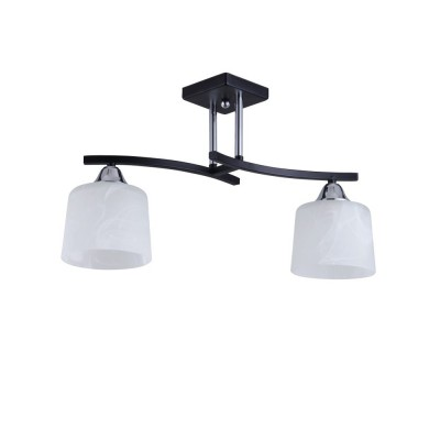 Светильник Colosseo 73002/2C Optimaсовременные потолочные люстры модерн<br><br><br>Установка на натяжной потолок: Да<br>S освещ. до, м2: 6<br>Крепление: Планка<br>Тип лампы: Накаливания / энергосбережения / светодиодная<br>Тип цоколя: E27<br>Цвет арматуры: черный/серебристый<br>Количество ламп: 2<br>Ширина, мм: 130<br>Высота полная, мм: 300<br>Длина, мм: 470<br>Высота, мм: 300<br>MAX мощность ламп, Вт: 60