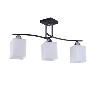 Светильник Colosseo 73003/3C Optimaсовременные потолочные люстры модерн<br><br><br>Установка на натяжной потолок: Да<br>S освещ. до, м2: 9<br>Крепление: Планка<br>Тип лампы: Накаливания / энергосбережения / светодиодная<br>Тип цоколя: E27<br>Цвет арматуры: черный/серебристый<br>Количество ламп: 3<br>Ширина, мм: 180<br>Высота полная, мм: 300<br>Длина, мм: 580<br>Высота, мм: 300<br>MAX мощность ламп, Вт: 60