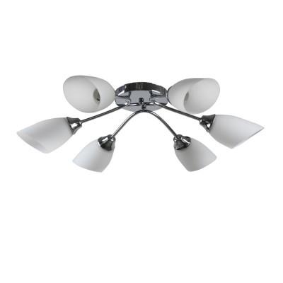 Люстра Colosseo 73017/6C optimaПотолочные<br><br><br>S освещ. до, м2: 18<br>Тип лампы: накаливания / энергосбережения / LED-светодиодная<br>Тип цоколя: E27<br>Цвет арматуры: серебристый<br>Количество ламп: 6<br>Диаметр, мм мм: 740<br>Высота, мм: 190<br>MAX мощность ламп, Вт: 60