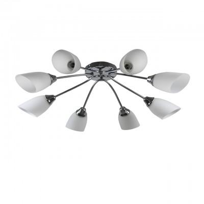 Люстра Colosseo 73017/8C optimaПотолочные<br><br><br>Тип лампы: накаливания / энергосбережения / LED-светодиодная<br>Тип цоколя: E27<br>Количество ламп: 8<br>MAX мощность ламп, Вт: 60<br>Диаметр, мм мм: 875<br>Высота, мм: 200<br>Цвет арматуры: серебристый
