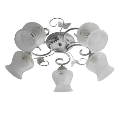 Светильник Colosseo 73034/5Cсовременные потолочные люстры модерн<br><br><br>Тип лампы: Накаливания / энергосбережения / светодиодная<br>Тип цоколя: E27<br>Цвет арматуры: Светлые тона<br>Количество ламп: 5<br>Диаметр, мм мм: 600<br>Высота полная, мм: 190<br>Высота, мм: 190<br>Поверхность арматуры: матовая<br>Оттенок (цвет): белый<br>MAX мощность ламп, Вт: 60<br>Общая мощность, Вт: 300