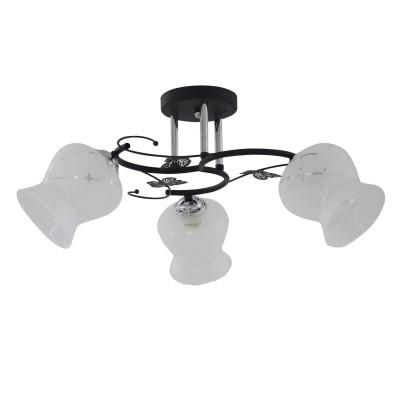 Светильник Colosseo 73038/3Cсовременные потолочные люстры модерн<br><br><br>Тип лампы: Накаливания / энергосбережения / светодиодная<br>Тип цоколя: E27<br>Цвет арматуры: серебристый хром<br>Количество ламп: 3<br>Диаметр, мм мм: 540<br>Высота полная, мм: 260<br>Высота, мм: 260<br>Оттенок (цвет): черный/серебристый<br>MAX мощность ламп, Вт: 60