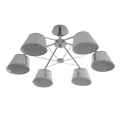 Светильник Colosseo 73041/6Cлюстры хай тек потолочные<br><br><br>Тип лампы: Накаливания / энергосбережения / светодиодная<br>Тип цоколя: E27<br>Цвет арматуры: серебристый хром<br>Количество ламп: 6<br>Диаметр, мм мм: 710<br>Высота полная, мм: 300<br>Высота, мм: 300<br>Поверхность арматуры: глянцевая<br>Оттенок (цвет): серебристый<br>MAX мощность ламп, Вт: 60