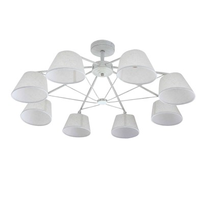 Светильник Colosseo 73042/8Cсовременные потолочные люстры модерн<br><br><br>Тип лампы: Накаливания / энергосбережения / светодиодная<br>Тип цоколя: E27<br>Цвет арматуры: Светлые тона<br>Количество ламп: 8<br>Диаметр, мм мм: 850<br>Высота полная, мм: 300<br>Высота, мм: 300<br>Поверхность арматуры: матовая<br>Оттенок (цвет): белый<br>MAX мощность ламп, Вт: 60<br>Общая мощность, Вт: 480