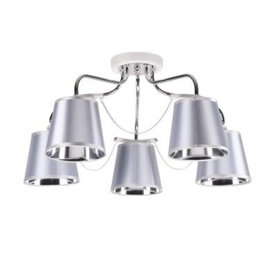 Светильник Colosseo 73050/5Cсовременные потолочные люстры модерн<br><br><br>Тип лампы: Накаливания / энергосбережения / светодиодная<br>Тип цоколя: E27<br>Цвет арматуры: серебристый хром<br>Количество ламп: 5<br>Диаметр, мм мм: 550<br>Высота полная, мм: 290<br>Высота, мм: 290<br>Поверхность арматуры: глянцевая<br>Оттенок (цвет): серебристый<br>MAX мощность ламп, Вт: 60<br>Общая мощность, Вт: 300