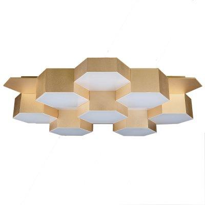 Lightstar FAVO 750163 ЛюстраПотолочные<br><br><br>Установка на натяжной потолок: Да<br>Крепление: Планка<br>Тип товара: Люстра<br>Тип цоколя: LED<br>Количество ламп: 80<br>Размеры: L640 W590 H120<br>Цвет арматуры: Золотой