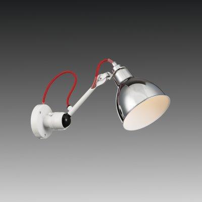 Lightstar LOFT 765604 Светильник настенный браГибкие<br><br><br>S освещ. до, м2: 2<br>Тип цоколя: E14<br>Количество ламп: 1<br>MAX мощность ламп, Вт: 40<br>Размеры: H 175-360 D плаф. 145 Выступ 385-420 D осн. 95<br>Оттенок (цвет): серебристый<br>Цвет арматуры: белый
