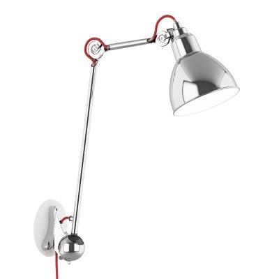 Lightstar LOFT 765614 Светильник настенный браГибкие<br><br><br>S освещ. до, м2: 2<br>Тип лампы: Накаливания / энергосбережения / светодиодная<br>Тип цоколя: E14<br>Количество ламп: 1<br>MAX мощность ламп, Вт: 40<br>Размеры: H 487-745 Выступ 220-780 D плаф. 145<br>Оттенок (цвет): серебристый<br>Цвет арматуры: серебристый