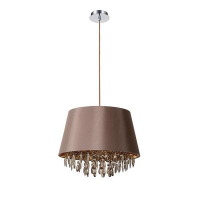 Светильник Lucide 78368/45/41Подвесные<br><br><br>Установка на натяжной потолок: Да<br>S освещ. до, м2: 3<br>Тип лампы: Накаливания / энергосбережения / светодиодная<br>Тип цоколя: E27<br>Цвет арматуры: серебристый хром<br>Количество ламп: 1<br>Диаметр, мм мм: 450<br>Высота, мм: 1630<br>MAX мощность ламп, Вт: 60