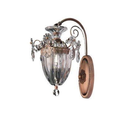 Lightstar SCHON 790618 Светильник настенный браКлассические<br><br><br>Тип лампы: Накаливания / энергосбережения / светодиодная<br>Тип цоколя: E14<br>Количество ламп: 1<br>MAX мощность ламп, Вт: 60<br>Размеры: W210 H320 отступ<br>Оттенок (цвет): прозрачный<br>Цвет арматуры: латунь