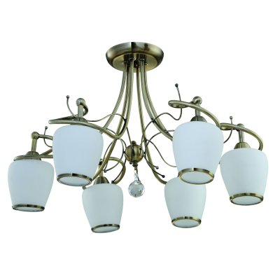 Люстра классическая IDLamp 800/6PF OldbronzeПотолочные<br><br><br>S освещ. до, м2: 24<br>Крепление: Потолочные<br>Тип товара: Люстры<br>Скидка, %: 51<br>Тип лампы: накаливания / энергосбережения / LED-светодиодная<br>Тип цоколя: E27<br>Количество ламп: 6<br>MAX мощность ламп, Вт: 60<br>Диаметр, мм мм: 620<br>Высота, мм: 430<br>Оттенок (цвет): белый<br>Цвет арматуры: античная бронза